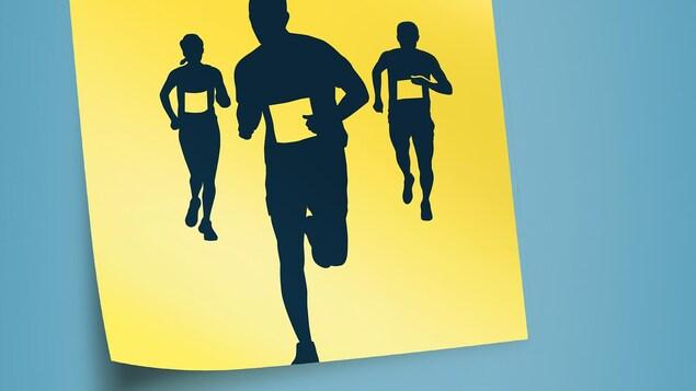 Montage photo des silhouettes de trois joggeurs.