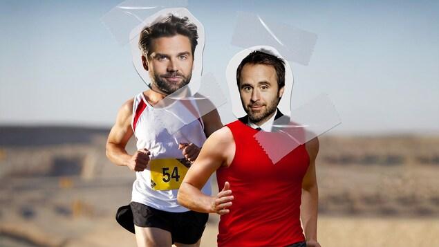 Les visages de Jean-Philippe Wauthier et Louis-Josée Houde apposés sur des corps musclés.