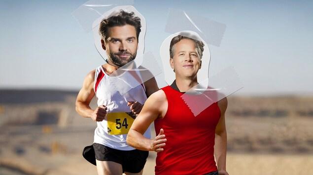 Collage de Jean-Philippe Wauthier et Marc Cassivi sur des corps musclés de coureurs.