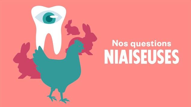 Illustration d'une dent avec un œil et une poule.