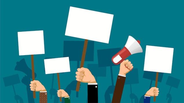 Illustration de mains levées tenant des pancartes