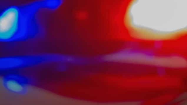 Des gyrophares d'une voiture de police s'allument dans la nuit.