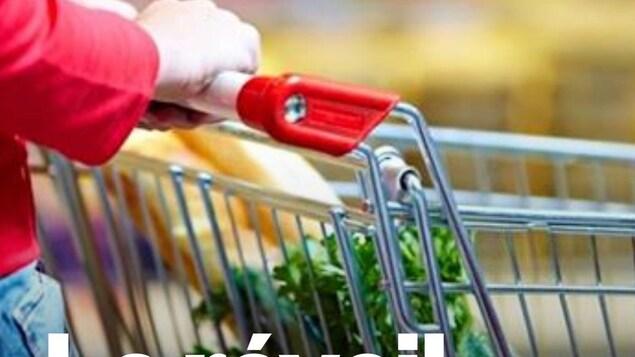 Une personne pousse son panier d'épicerie.