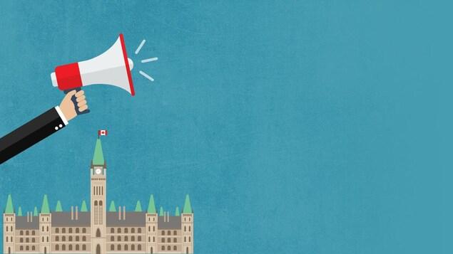 un bras tend un mégaphone devant le parlement canadien