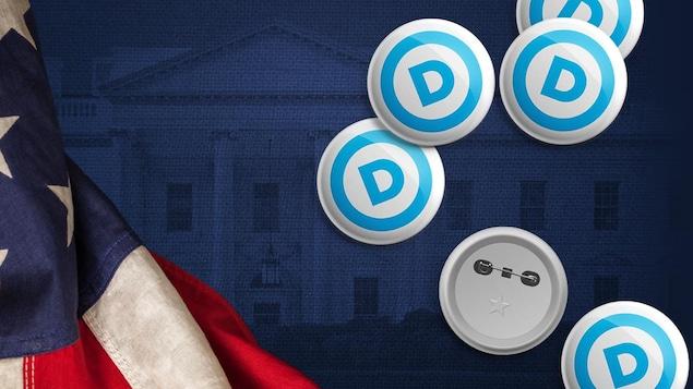 Visuel de la maison blanche en arrière plan avec drapeau américain et macarons de campagne électorale.