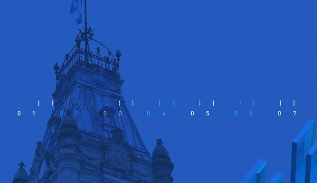 Parlement du Québec sur fond bleu