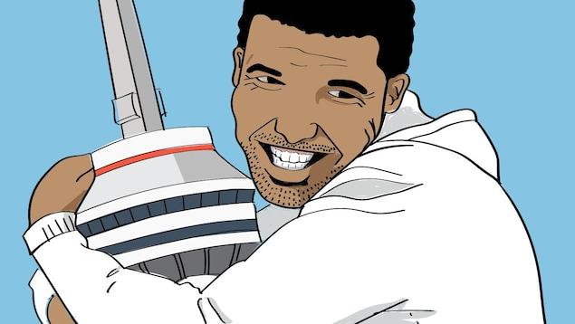 Dessin de Drake qui prend la Tour du CN dans ses bras.
