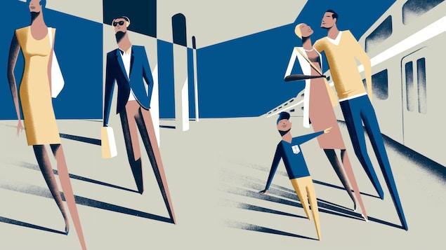 Une illustration de Pascal Blanchet représentant des gens marchant à côté d'un train.