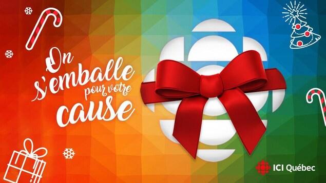Le logo de Radio-Canada entouré d'un ruban à cadeau.