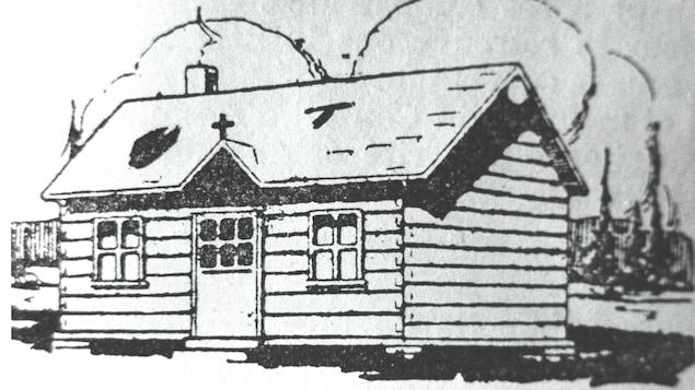 Un dessin d'une cabane en bois ronds.