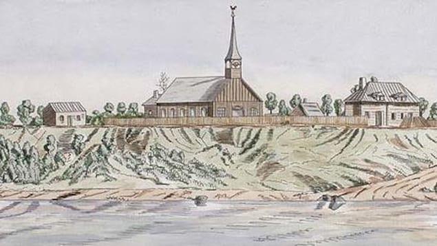 Dessin montrant des bâtiments de bois, dont une église munie d'un clocher.