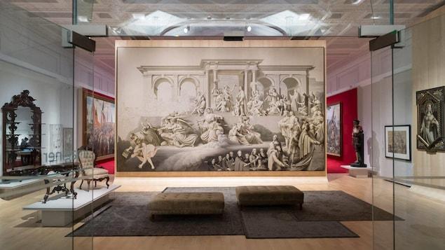 Salle «Imaginer» de l'exposition 350 ans de pratiques artistiques au Québec. Représentation de l'atelier de Napoléon Bourassa.
