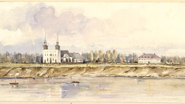Dessin à l'aquarelle d'une grande église sur le bord d'une rivière avec un autre bâtiment sur la droite,