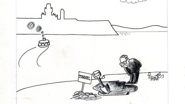 Caricature de 1966. On y voit Johnson regarder le trou de la première pelletée de terre du futur tunnel.