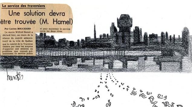 Caricature de 1965. On voit des gens traverser le fleuve vers la ville de Québec à la nage.