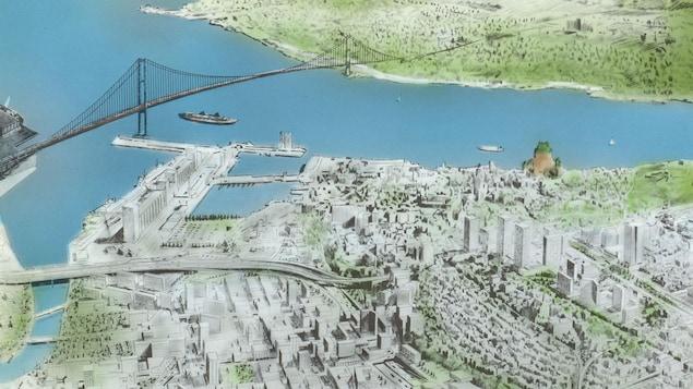 Illustration du pont imaginé dans les années 70, qui partait du Bassin Louise et se rendait sur la rive-sud.