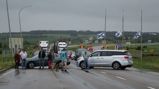 Part of Nova Scotia's Trans-Canada Highway remains closed because of a protest over border restrictions announced Tuesday by the provincial government.