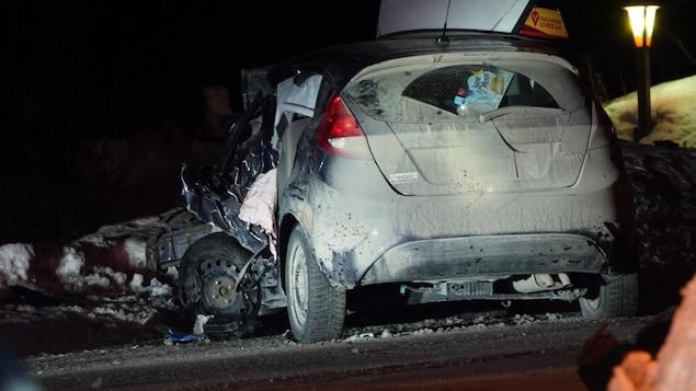Un véhicule accidenté.