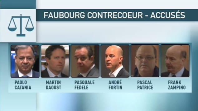 Les six accusés qui réclament un arrêt des procédures dans l'affaire Faubourg Contrecoeur.