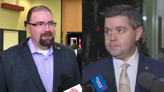 À gauche, une image de Denis Simard en entrevue. À droite, une image de Jeremy Harrison en entrevue.