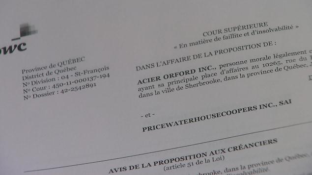 Image de l'avis de la proposition aux créanciers.