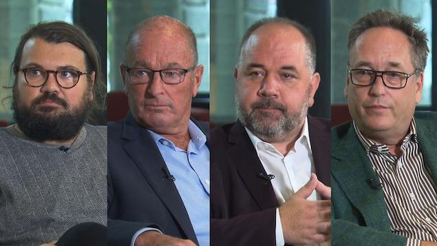 Les visages des quatre candidats durant une entrevue.