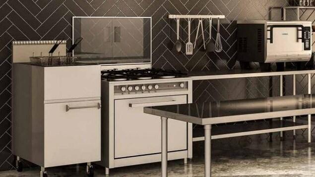 Une cuisine moderne tout en tons gris et noirs, du sol au plafond.