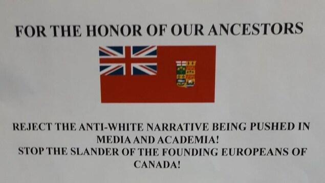Cette affiche a été placardée sur les murs de l'Université du Nouveau-Brunswick, à Fredericton.