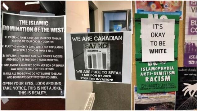 Des affiches islamophobes et contre l'immigration ont été trouvées sur le campus au cours du dernier mois.