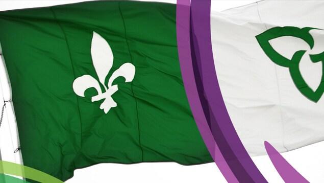 Le drapeau franco-ontarien en arrière-plan sur le site Web de l'Assemblée de la francophonie de l'Ontario