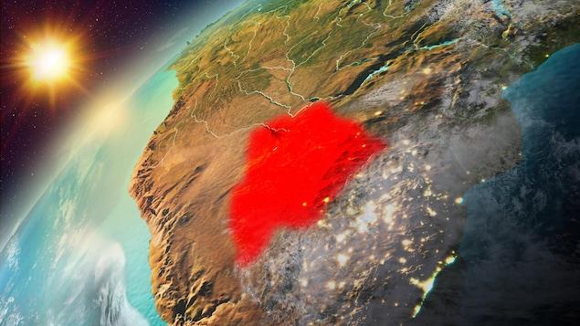 Illustration montrant le territoire occupé par le Botswana.