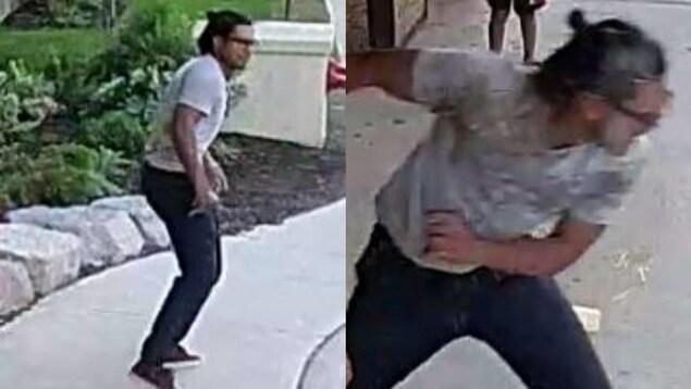 2 photos du suspect qui porte des jeans et un t-shirt