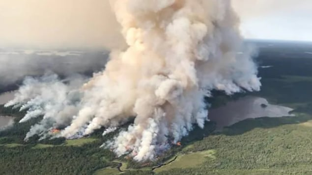 An aerial view of the Kenora 51 fire, which is burning in Woodland Caribou Provincial Park. As of Thursday, the fire was at about 136,000 hectares and not under control. Air quality due to smoke is an issue in many areas of the region.