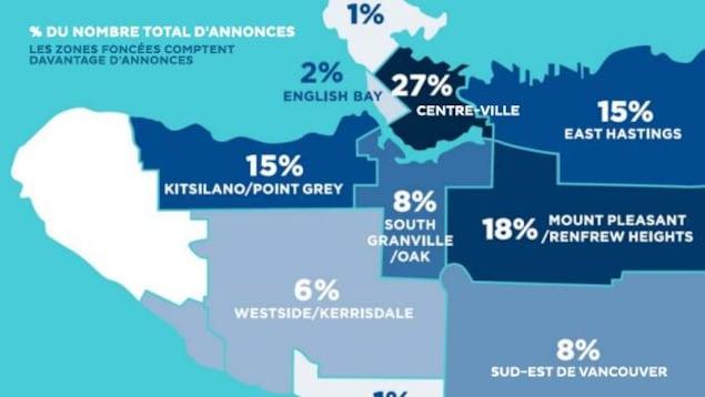 Une carte représentant les zones où les logements à court terme sont les plus nombreux.