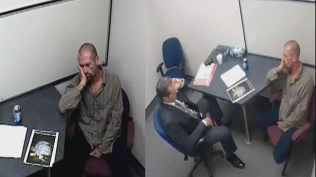 Capture d'écran de l'interrogatoire d'Alain Audet par un enquêteur du Service de police de la Ville de Québec