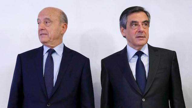 Alain Juppé (à gauche) et François Fillon (à droite)
