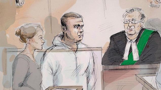 Un dessin de cour montrant Alek Minassian (au centre) lors d'une audience du tribunal où l'on voit une avocate (à gauche) et le juge (à droite)