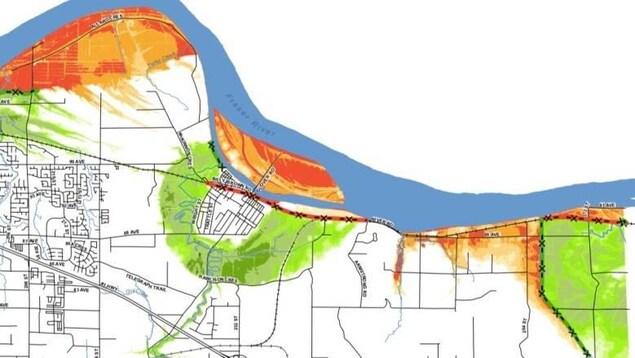 On voit un plan de Langley où les zones à risque sont coloriées en orange.