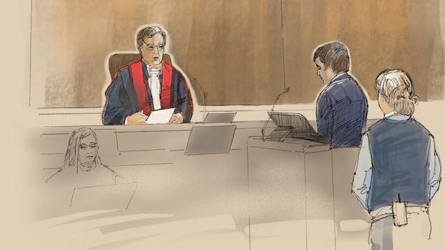 Dessin : Alexandre Bissonnette écoute le jugement de Juge François Huot
