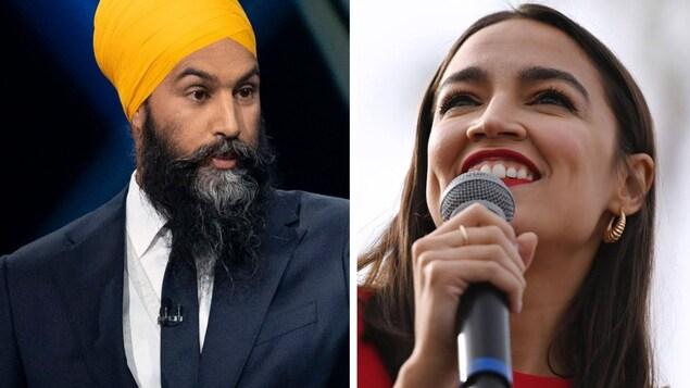 Montage de deux photos : une montrant Jagmeet Singh et l'autre, Alexandria Ocasio-Cortez qui parle dans un micro.