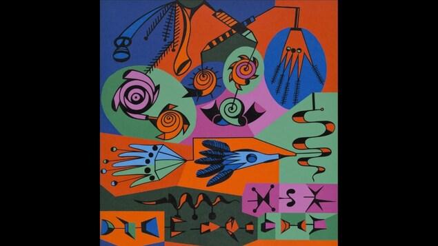 Alfred Pellan, Graffiti, Sérigraphie, E.A. 3/10, 35 5/8 X 5/16 pouces, 1973