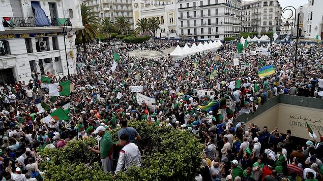 Plan général à vol d'oiseau de la manifestation à Alger, en Algérie.
