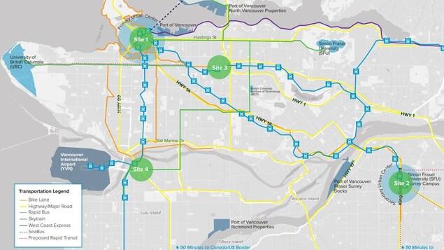 Une carte du Grand Vancouver.