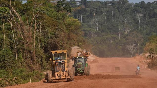 Des travaux de construction dans la forêt amazonienne.