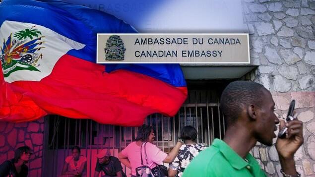 Un drapeau flotte devant l'ambassade, alors qu'un homme parle au téléphone (montage)