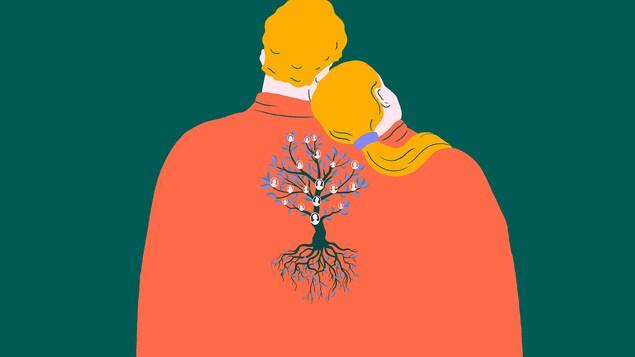 Deux amoureux cousins avec un arbre généalogique dans le dos