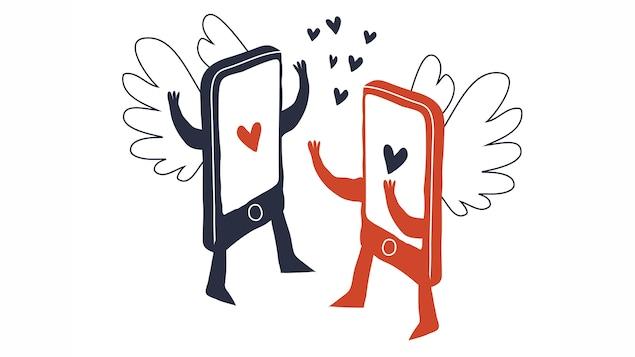 Un dessin montrant deux téléphones intelligents anthropomorphiques sur le point de s'enlacer.