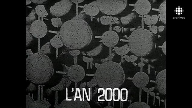 Illustration d'atomes groupés avec au bas le titre «L'AN 200».