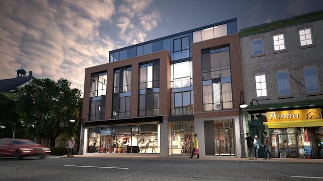 Une esquisse du projet de revitalisation de l'ancienne Boucherie Bégin sur la rue Saint-Jean à Québec