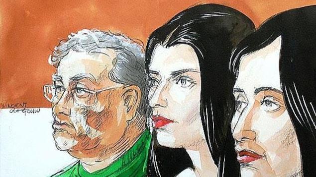 Croquis de cour des trois protagonistes.